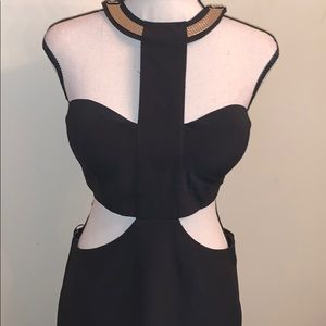 NWOT Black Stretch Cutout Dress With Gold Neck